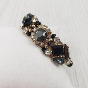 Jewelry - Gold Tone Black Rhinestone Bead Cuff Bracelet